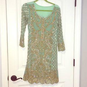 Designer 3 piece suit in pistachio green
